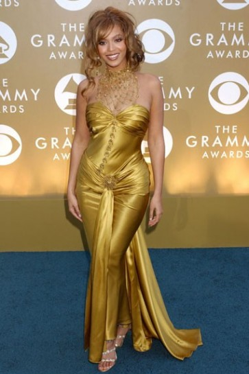Beyonce Yellow Sweetheart Prom Dress Grammy Awards Blue Carpet