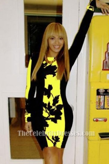 Beyonce Short Black and Yellow Print Long Sleeve Party Dresses TCDTB009