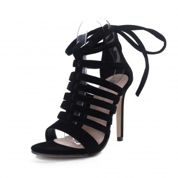 Black Open Toe Hollow  Sandals With Stiletto Heels