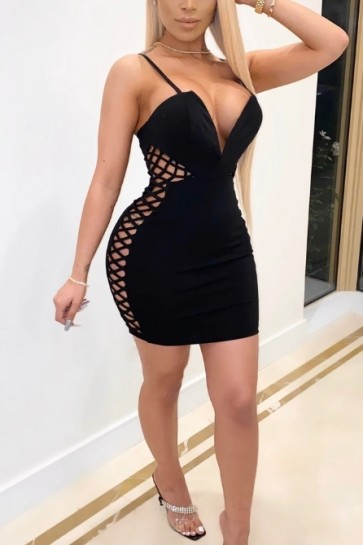 Black Sexy Cut Out Cocktail Bandage Dress