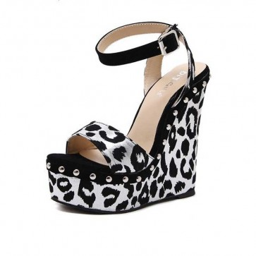 Black Sexy Leopard Open-toe Shoes Ankle Strap Platform Women Sandals