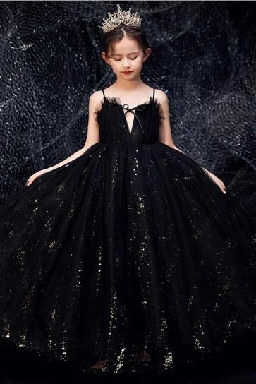 Black Sparkly Flower Girl Dress