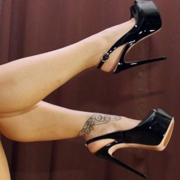 Black Platform Stiletto Heels Peep-toe Prom Shoes For Women