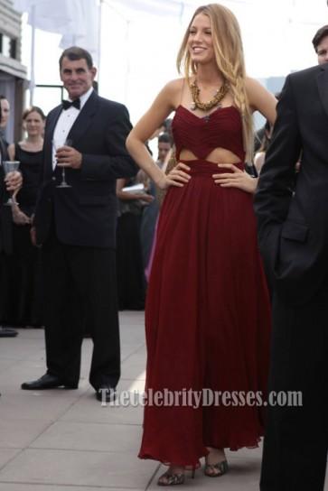 Blake Lively Bourgogne Robe de Soirée de Bal de Promo Gossip Girl Fashion