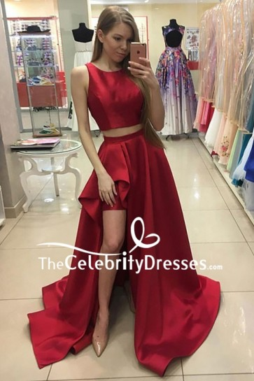Burgundy Two Pieces High Low Prom Dress