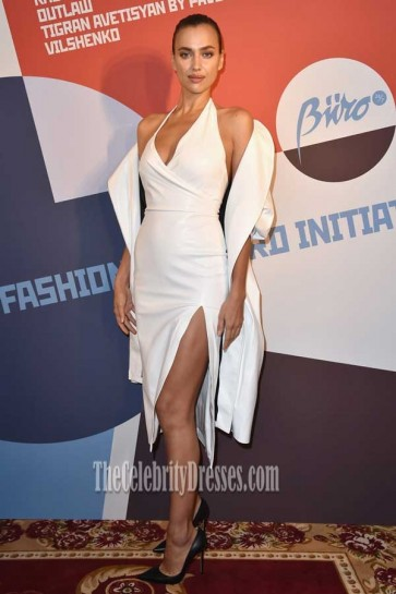 Irina Shayk White Thigh-high Split Halter Party Dress Buro 24/7 Fashion Forward Initiative 2016