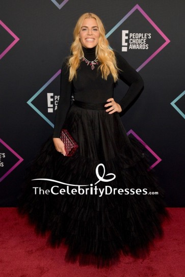 Busy Philipps Black Ball Gown With Long Sleeves  2018 People's Choice Awards