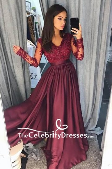 Burgundy V-neck Lace A-line Applique Long Sleeves Prom Dress