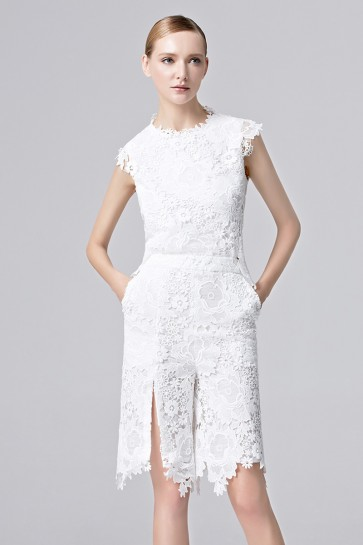 Women's Stunning White and Black Party Dress Lace Short-Mini Graduation Dress 1