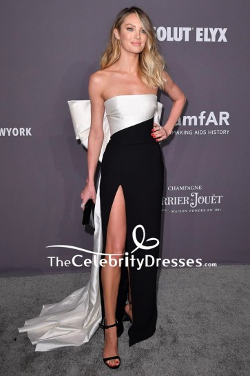 Candice Swanepoel Two Tones Strapless Evening Dress 2019 amfAR New York Gala