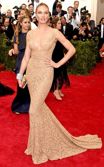 Candice Swanepoel Champagne See Through Lace Evening Dress Met Gala