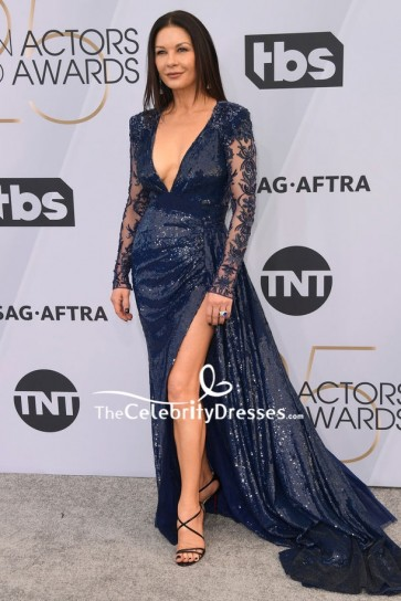 Catherine Zeta-Jones Dark Navy Sequined Thigh-high Slit Evening Dress 2019 SAG Awards
