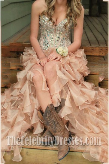 Celebrity Inspired High Low Prom Dresses Evening Formal Gown