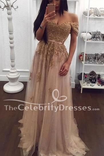 Elegant Champagne Tulle A-Line Off Shoulder Formal Dress Evening Gown TCDFD7807