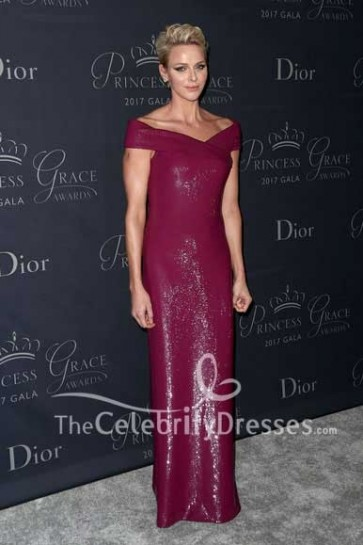 Charlene Wittstock Burgundy Off-the-shoulder Sequin Sheath Evening Dress 2017 Princess Grace Awards Gala