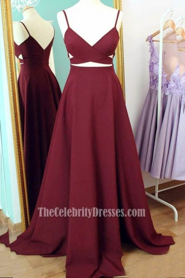 Chic Burgundy Cut Out A-Line Prom Gown Evening Party Dress