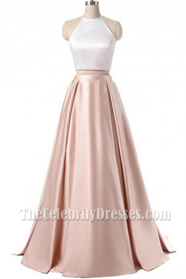 Chic Two Pieces Prom Ball Gown Floor Length Evening Dress