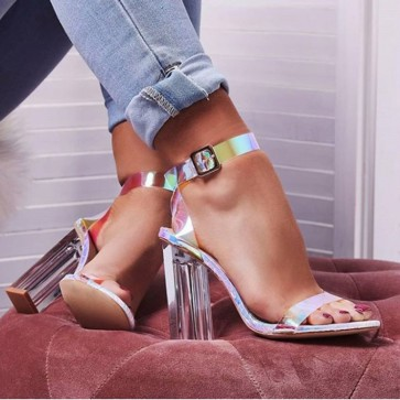 Colorful Ankle Strap Open-toe Chunky Heel Sandals  For Women