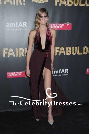 Constance Jablonski Burgundy Plunging Velvet Thigh-high Slit Halter Evening Dress  2017 amfAR Fabulous Fund Fair