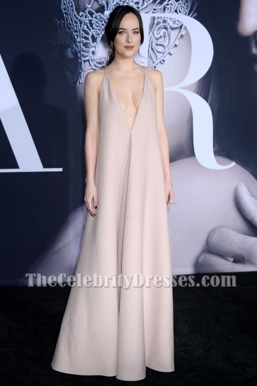 Dakota Johnson Fifty Shades Darker Premiere 2017 Deep V-neck Backless Evening Dress