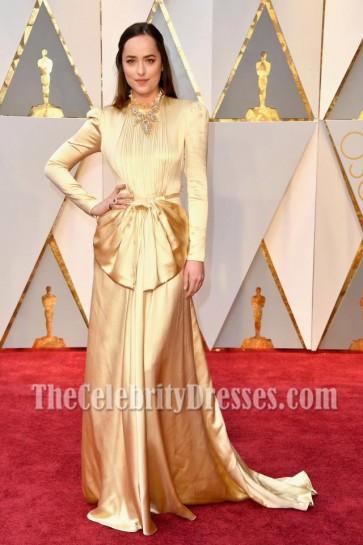Dakota Johnson  2017 Oscars Evening  Dress Gold Long Sleeves Prom Gown