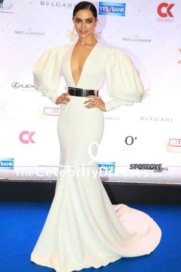 Deepika Padukone Robe de soirée blanche à manches longues Hello! Prix du Temple de la renommée (Ceinture n'est pas incluse)
