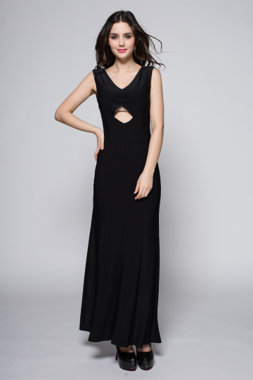 Discount Black Cut Out Backless Prom Gown Evening Dresses