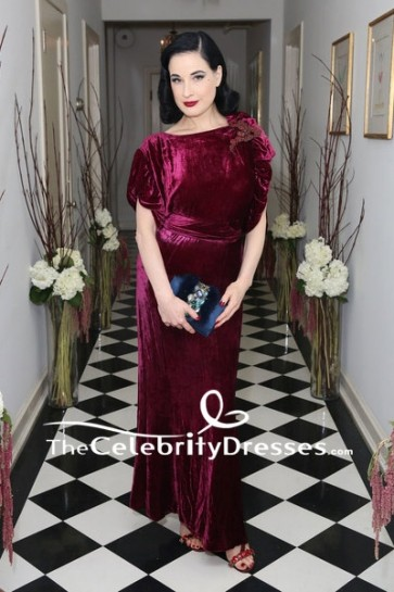 Dita Von Teese Burgundy Embroidered Velvet Cap Sleeves Cocktail Dress Olgana Paris Cocktail Party