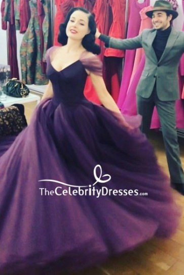 Dita Von Teese Purple Cap Sleeves A-line Ball Gown