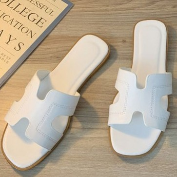 Double Band Open-toe Cut Out Slide Sandals