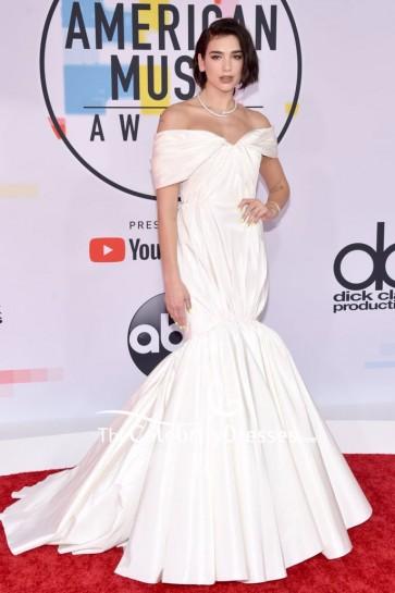 Dua Lipa Ivory Off-the-shoulder Mermaid Formal Dress 2018 American Music Awards