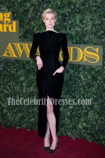 Elizabeth Debicki Black High-neck Evening Prom Gown London Evening Standard Theatre Awards  4