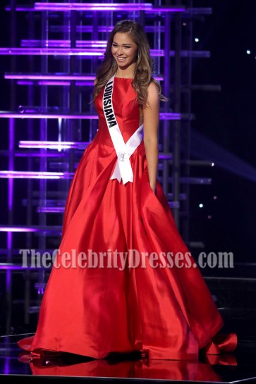 Ellie Picone Red Evening Ball Gown 2016 Miss Teen USA Competition 6