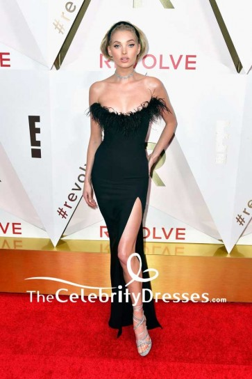Elsa Hosk Black Strapless Thigh-high Slit Evening Dress #REVOLVEawards Red Carpet