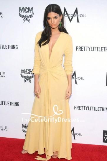 Emily Ratajkowski Deep V-neck Evening Dress With Long Sleeves 2018 Fashion Los Angeles Awards Red Carpet
