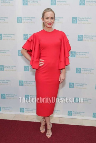 Emily Blunt Red Ruffle-sleeve Scoop Neckline Party Evening Dress 2017 Freeing Voices Changing Lives Benefit Gala