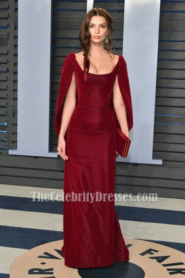 Emily Ratajkowsk Burgundy Caped Velvet Evening Formal Dress 2018 Vanity Fair Oscar party