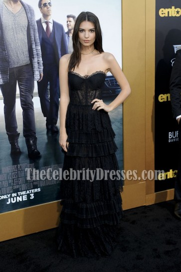 Emily Ratajkowski Black Sheer Strapless Lace Evening Prom Gown Entourage Premier 2015 6