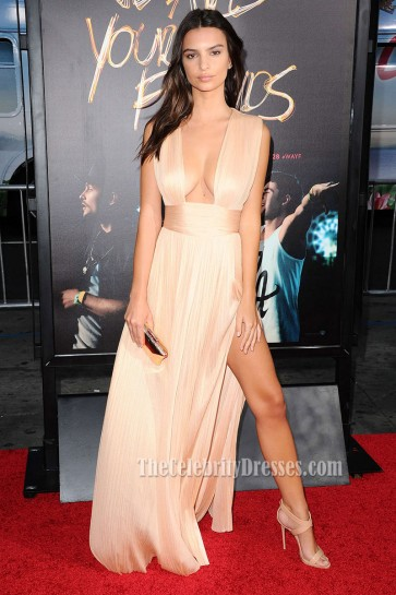 Emily Ratajkowski Champagne High Slit Evening Dress Sexy Red Carpet Gown In 'We Are Your Friends'  1