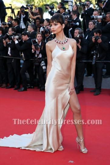 Emily Ratajkowski 2017 Cannes Film Festival  Slip High Slit Backless Evening Dress
