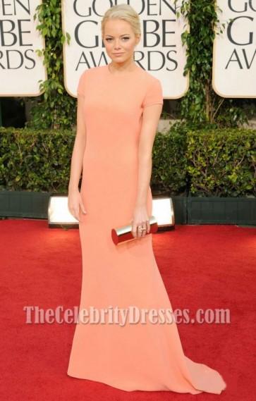 Emma Stone Backless Formal Dress Golden Globe Red Carpet 2011