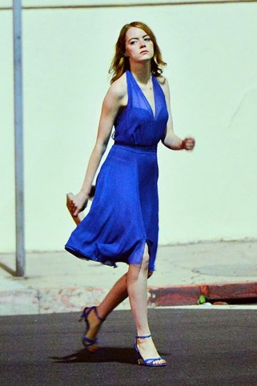 Emma Stone Royal Blue V-neck Short Dress In Movie La La Land