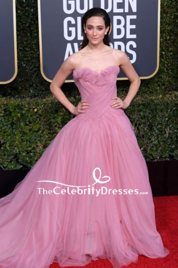 Emmy Rossum Blushing Pink Strapless Ball Gown 2019 Golden Globe Awards Red Carpet