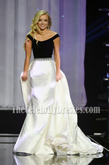 Erin Snow Two Tones Off-the-shoulder Evening Ball Gown 2016 Miss Teen USA Competition 3