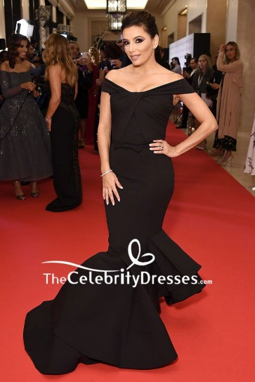 Eva Longoria Black Mermaid Off-the-shoulder Formal Evening Dress Global Gift Gala Red Carpet