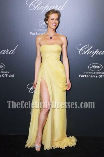 Eva Herzigova Yellow Strapless Formal Dress 2014 Cannes Film Festival 5