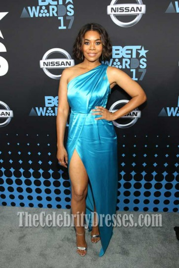 Regina Hall Blue One-shoulder Evening Prom Gown 2017 BET Awards Staples Center
