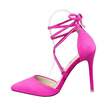 Fuchsia Women's Stiletto Heels Pointed Toe Shoes