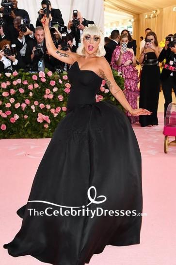 Lady Gaga Strapless Black Ball Gown 2019 Met Gala