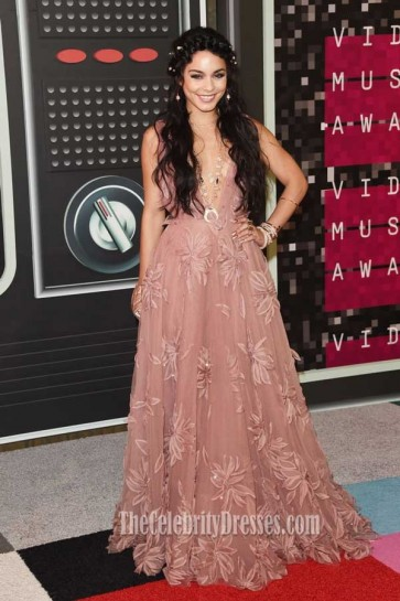 Vanessa Hudgens Pink Lace V-neck Evening Dress 2015 MTV Video Music Awards